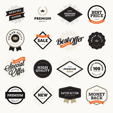 badge: Set of vintage style premium quality badges and labels for designers. Vector illustrations for e-commerce, product promotion, advertising, sell products, discounts, sale, clearance, the mark of quality.