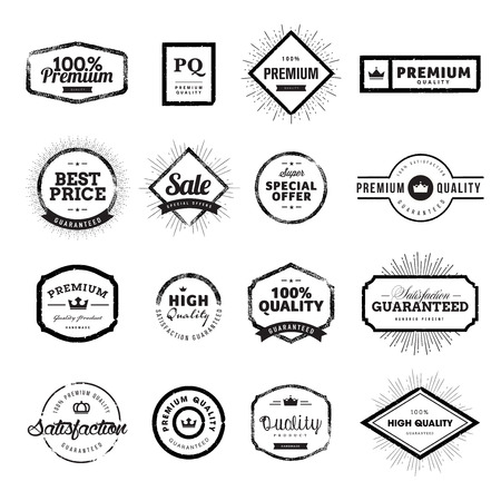 sell: Set of vintage style premium quality badges and labels. Hand drawn vector illustrations for e-commerce, product promotion, advertising, sell products, discounts, sale, clearance, the mark of quality.