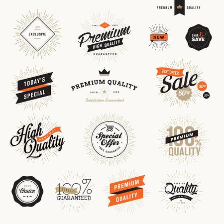 ビンテージ プレミアム品質ラベル、販促資料、web デザインのバッジのセットです。