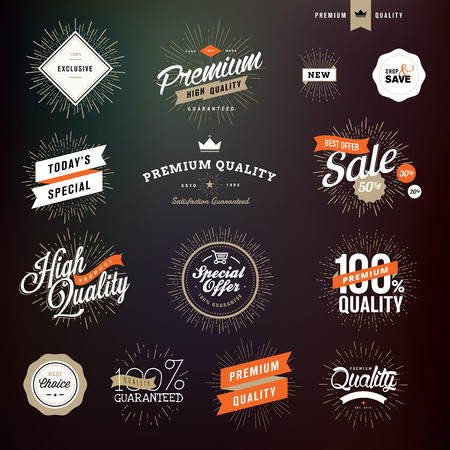 Collection of vintage style premium quality badges and stickers for designers