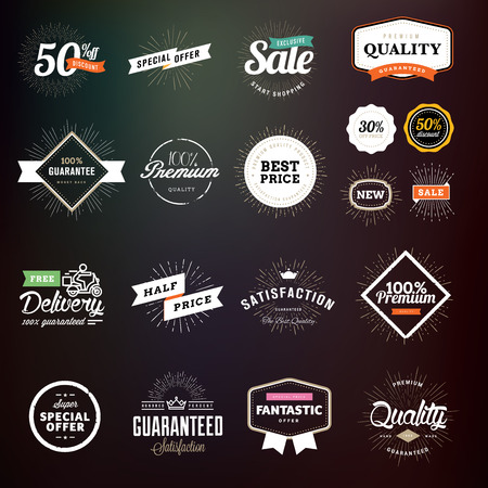 sell: Collection of premium quality badges and labels for designers. Vector illustrations for e-commerce, product promotion, advertising, sell products, discounts, sale, clearance, the mark of quality.