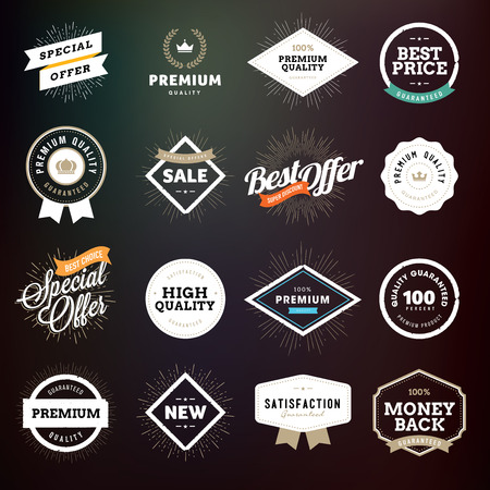 Collection of premium quality badges and labels for e-commerce, product promotion, advertising, sell products, discounts, sale, clearance, the mark of quality.