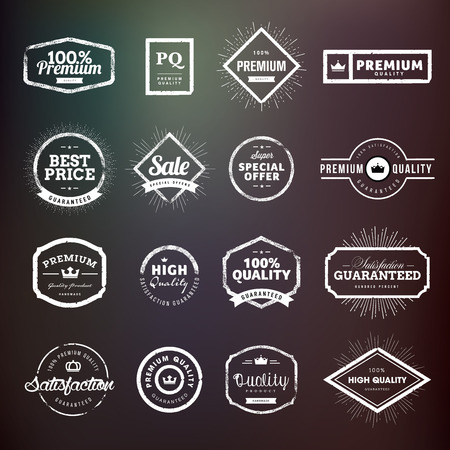 shopping sale: Collection of vintage hand drawn premium quality badges and stickers for designers. Vector illustrations for e-commerce, product promotion, advertising, sell products, discounts, sale, clearance, the mark of quality.