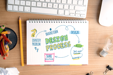 Design process. Concept for designers and developers, for website banner, background, poster, presentation templates and marketing materials.