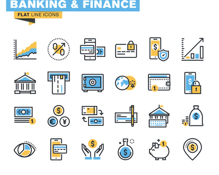 Trendige flache Linie Icon Pack für Designer und Entwickler. Symbole für Bank-, Finanz-, Überweisung, Online-Zahlung, m-Banking, Investment, Sparen, Internet-Zahlungssicherheit für Websites und mobile Websites und Apps. Vektorgrafik