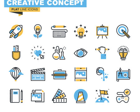 Trendy rovná čára ikona balení pro návrháře a vývojáře. Ikony pro tvůrčí proces, design, umění, film, fotografování, literatura, malířství, vývoje produktů a služeb, pro webové stránky a mobilních webových stránek a aplikací. Ilustrace