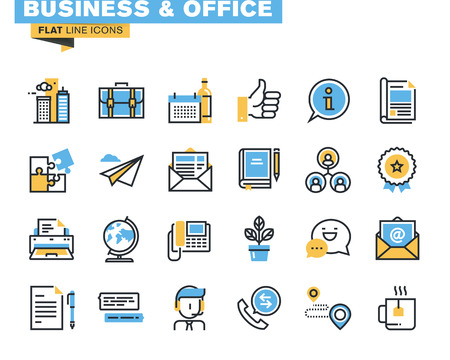 Moderno paquete de iconos de línea plana para diseñadores y desarrolladores. Iconos para negocios, oficinas, información y servicios de la compañía, comunicación y soporte, para sitios web y sitios web móviles y aplicaciones. Ilustración de vector