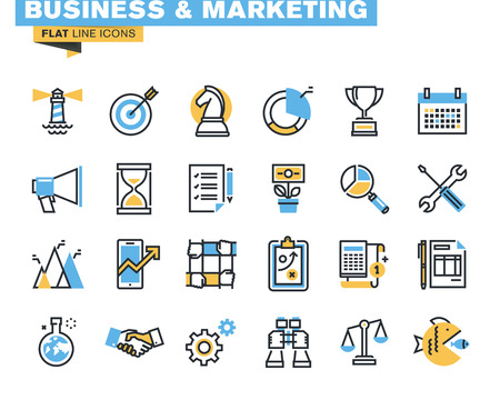 Trendy ligne plate pack d'icônes pour les concepteurs et les développeurs. Icônes pour les affaires, le marketing, la gestion, de la stratégie, de la planification, de l'analyse, de la finance, le succès, le travail d'équipe, des études de marché, des produits et des services de développement, pour les sites web et les sites mobiles et applications. Banque d'images - 45816200