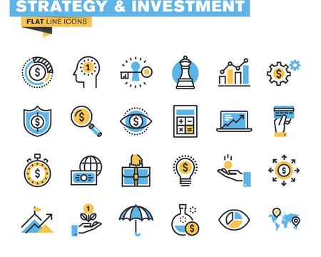 Trendige flache Linie Icon Pack für Designer und Entwickler. Icons für die Bereiche Strategie, Investitionen, Finanzen, Banken, Versicherungen, Finanzierung und Zahlung, für Websites und mobile Websites und Apps.