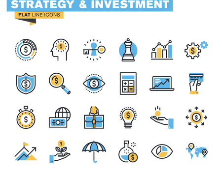 Trendige flache Linie Icon Pack für Designer und Entwickler. Icons für die Bereiche Strategie, Investitionen, Finanzen, Banken, Versicherungen, Finanzierung und Zahlung, für Websites und mobile Websites und Apps. Standard-Bild - 45816202