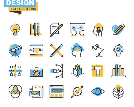 Trendy vlakke lijn icon pack voor ontwerpers en ontwikkelaars. Pictogrammen voor grafische vormgeving, webdesign en ontwikkeling, fotografie, industrieel design, branding, corporate identity, stationaire, product design, voor websites en mobiele websites en apps.