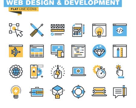 Trendy vlakke lijn icon pack voor ontwerpers en ontwikkelaars. Pictogrammen voor web design en ontwikkeling, programmering, seo, app ontwikkeling, onderhoud van de website, online beveiliging, responsive design, hosting, voor websites en mobiele websites en apps.