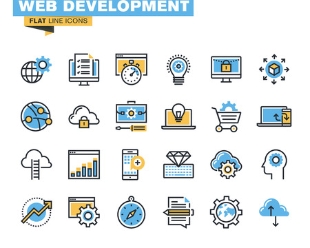 website traffic: Trendy flat line icon pack for designers and developers. Icons for website development, mobile website development, programming, seo, app development, website maintenance, online security, responsive design, cloud computing, for websites and mobile websit Illustration