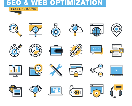 Модные плоская линия значков для дизайнеров и разработчиков. Иконки для SEO и веб-оптимизации, для веб-сайтов и мобильных веб-сайтов и приложений.