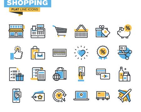デザイナーや開発者のトレンディなフラット ライン アイコンをパック。ショッピング、e コマース、m コマース、配信、web サイトやモバイル サイト