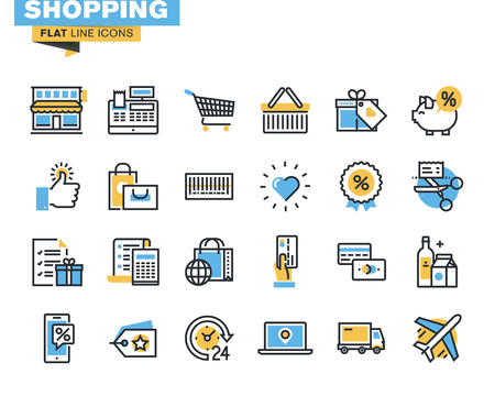 Trendy vlakke lijn icon pack voor ontwerpers en ontwikkelaars. Pictogrammen voor winkelen, e-commerce, m-commerce, levering, voor websites en mobiele websites en apps.