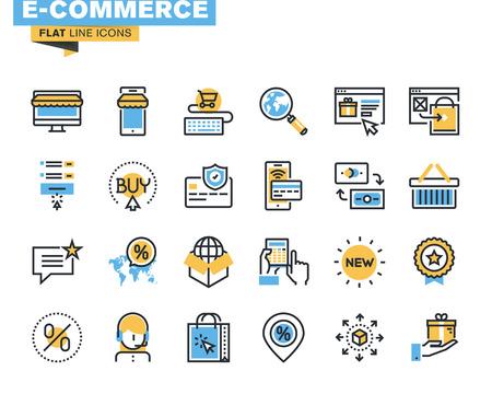 デザイナーや開発者のトレンディなフラット ライン アイコンをパック。E コマース、m コマース、オンライン ショッピング、web サイトやモバイル