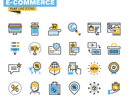 Trendy flat line icon pack for designers and developers. Icons for e-commerce, m-commerce, online shopping and payment, for websites and mobile websites and apps. Illustration