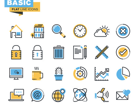 Trendige flache Linie Icon Pack für Designer und Entwickler. Basic-Icons für Websites und mobile Websites und Apps. Illustration