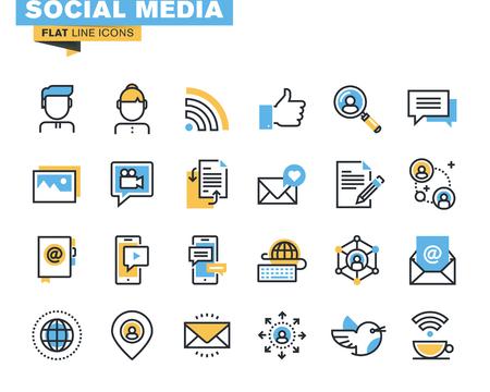 통신: 디자이너와 개발자를위한 최신 유행의 평면 라인 아이콘 팩. 웹 사이트 및 모바일 웹 사이트 및 앱의 소셜 미디어, 소셜 네트워크, 통신, 디지털 마케팅 일러스트