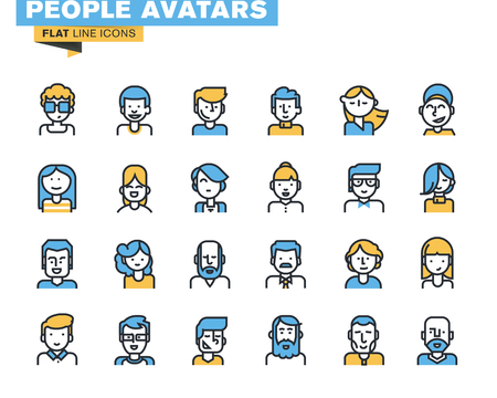 professions: Iconos línea plana conjunto de personas avatares con estilo para la página de perfil, red social, medios sociales, diferentes personajes hombre de edad y mujer, de ocupación humana profesional. Vectores