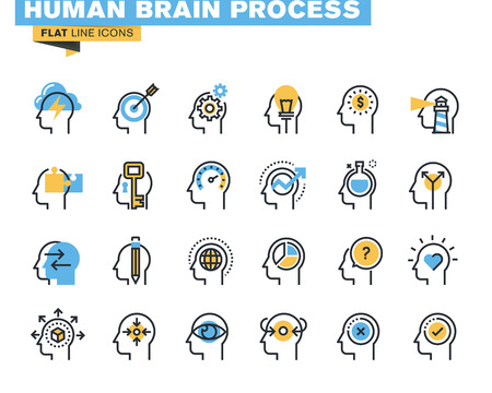 Flat line icons set of human brain process, brain thinking, emotions, mental health, creative process, business solutions, character experience, learning, strategy and development, opportunities. Иллюстрация