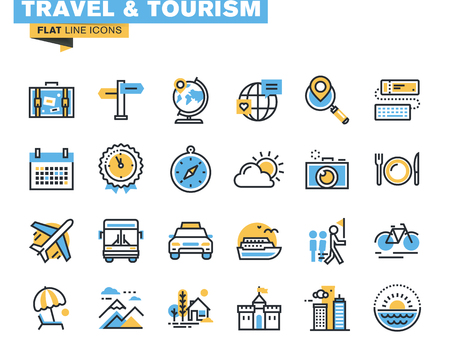 Flat line icons set of travel and tourism sign and object, holiday trip planning, online travel services, tour organization, air travel to cruise, summer and winter vacation, city break. Illustration