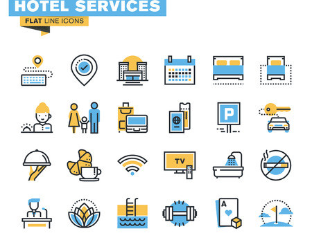 hotel sign: Flat line icons set of major hotel service facilities, resort accommodation, motel facility and hostel amenities, online booking, sport and leisure activities, rent a car service, entertainment Illustration