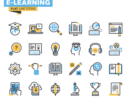 Flat line icons set of e-learning, distance education, online training and courses, cloud solutions for education, video tutorials, staff training, digital library, knowledge for all. Ilustração
