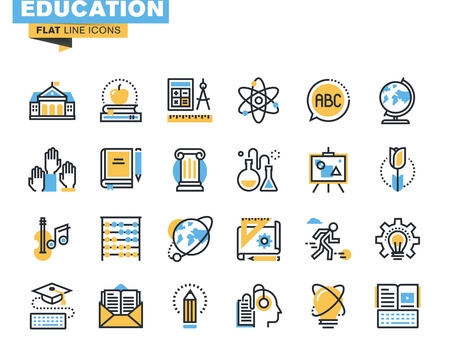 education: Flat line icons set of education process, online learning, e-book, webinar audio course, distance education, basic and elementary study, science, creative process, university and courses.
