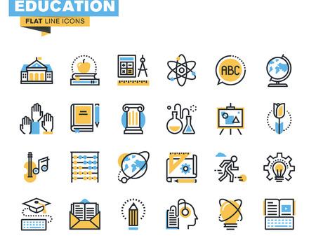 Iconos línea plana conjunto de proceso de la educación, el aprendizaje en línea, libros electrónicos, cursos de audio webinar, educación a distancia, estudio básico y elemental, ciencia, proceso creativo, universitarios y cursos.