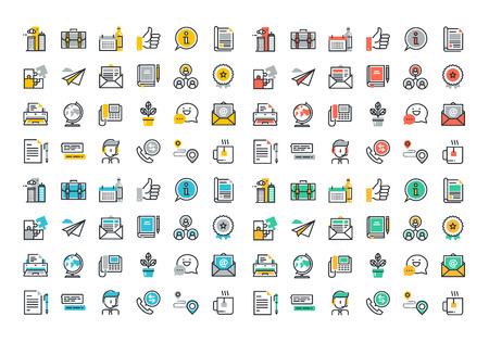 Flat line colorful icons collection of business essentials object, office tools, professional solution item, company information and services, communication and support. Ilustração