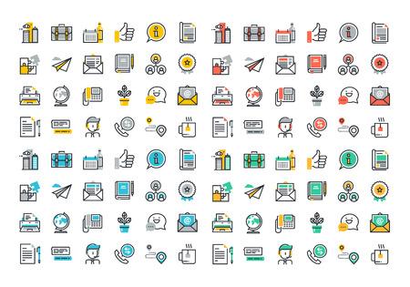Vlakke lijn kleurrijke iconen collectie van het bedrijfsleven essentials object, office tools, professionele oplossing voorwerp, bedrijfsinformatie en diensten, communicatie en ondersteuning.