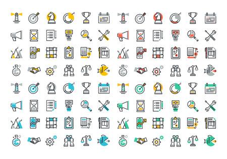 Vlakke lijn kleurrijke iconen collectie van corporate bedrijfseconomie, globale marktstrategie visie, teamwork partnerschap organisatie, succes business, marketing, planning en analyse.