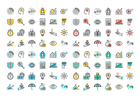Flat line colorful icons collection of business strategy, money growth, financial planning, investment portfolio, crowdsource funding, market data analytics, insurance. Vettoriali