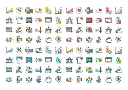 Vlakke lijn kleurrijke iconen collectie van online betalingen, m-bankieren, geld sparen en financiële instrumenten, bankdiensten, financieel management artikelen, boekhouding, internet betalingszekerheid