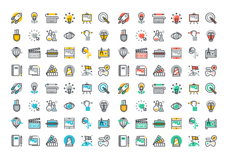 Flat line colorful icons collection of creative process, design, art, movie, making and editing of photography, literature, painting, product development, artist portfolio.