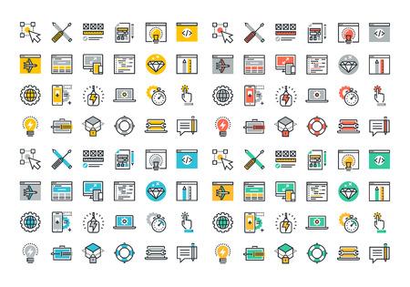 Flat Line icônes colorées collection de design et de développement web, conception adaptée, le développement d'applications, la sécurité en ligne, la programmation web, développement de site Web mobile.