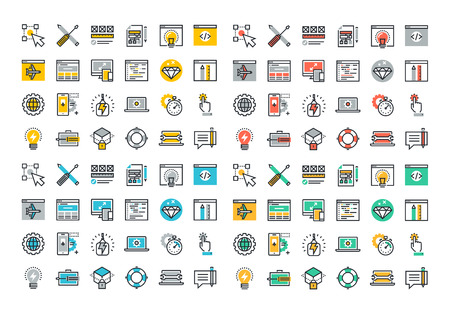 Flat line colorful icons collection of web design and development, responsive design, app development, online security, web programming, mobile website development.