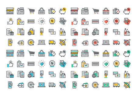 Flat line colorful icons collection of retail shopping activity, shopping and buying products, logistics services and price scanning, consumer items for selling, online shopping, discounts and coupons Illusztráció