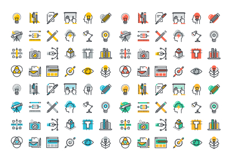 Flat line colorful icons collection of graphic design, web design, photography, industrial design, design, branding, corporate identity, stationary, product design.