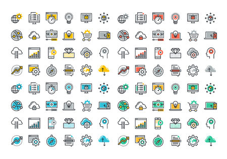 Flat line colorful icons collection of website and app development, seo, website maintenance, online security, cloud computing, web programming process, API interface coding, mobile app UI making. Иллюстрация