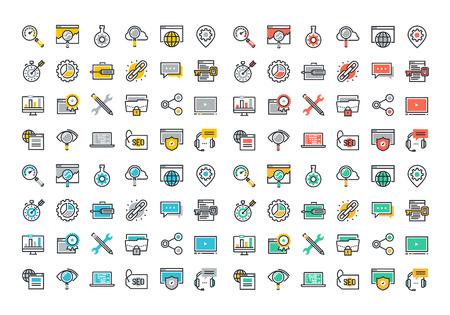 digitální: Ploché linie barevné ikony kolekce SEO, cloud computing technologie, nárůst dopravy, hodnost výsledek, popis snímků a propojení budovy, globální připojení k síti, ochrana dat, digitální marketing. Ilustrace