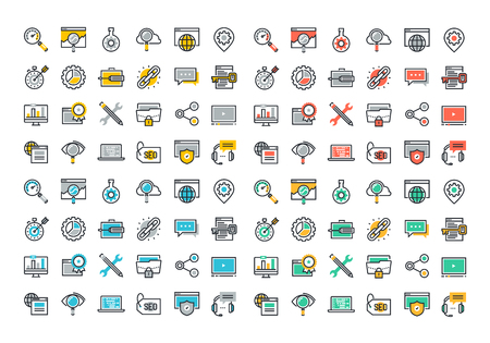 Flat line colorful icons collection of SEO, cloud computing technology, traffic growth, rank result, keywording and link building, global network connection, data protection, digital marketing.