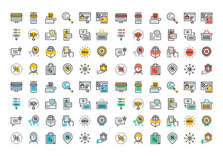 Flat line colorful icons collection of online shopping symbols, e-commerce and m-commerce services, discount for products, payment procedure, support and delivery process, online order procedure.