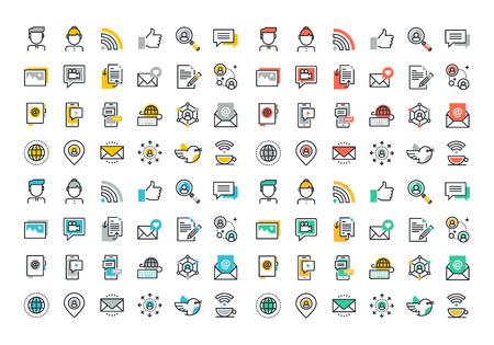 ligne Flat icônes colorées collection de réseau social, les médias sociaux, les formes modernes de communication, marketing numérique, le partage de l'information des médias, les gens de communication en réseau.