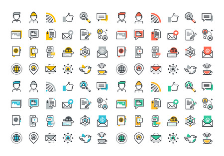 Flat line colorful icons collection of social network, social media, modern forms of communication, digital marketing, sharing media information, people networking communication.