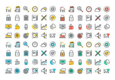 communication icons: Flat line colorful icons collection of website main elements and page features, office management process, business organization, internet contact and communication, online security, paperwork.