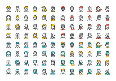Línea plana iconos de colores colección de gente avatares de la página de perfil, red social, medios sociales, diferentes personajes hombre de edad y de la mujer, la ocupación humana profesional, cartera. Ilustración de vector