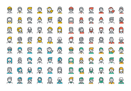 Flat line colorful icons collection of people avatars for profile page, social network, social media, different age man and woman characters, professional human occupation, portfolio.